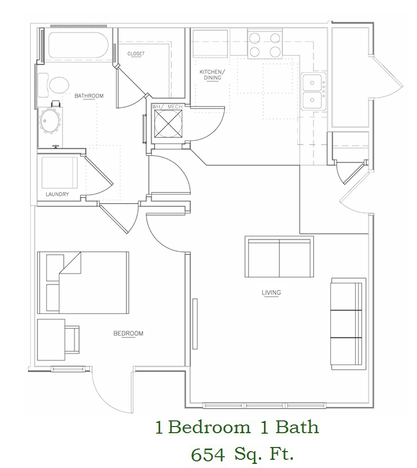 one bedroom xl floor plan